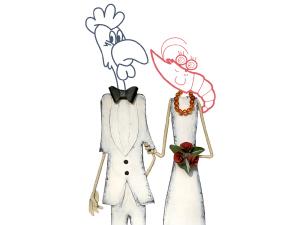 Enlace matrimonial del Pollo Lolo y Rita la Langosta